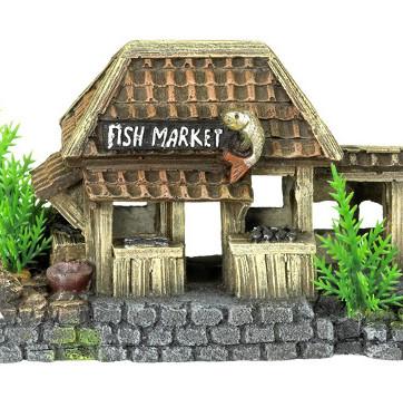 fiskemarked med planter