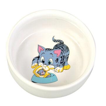 keramikskål til kattefoder og vand.